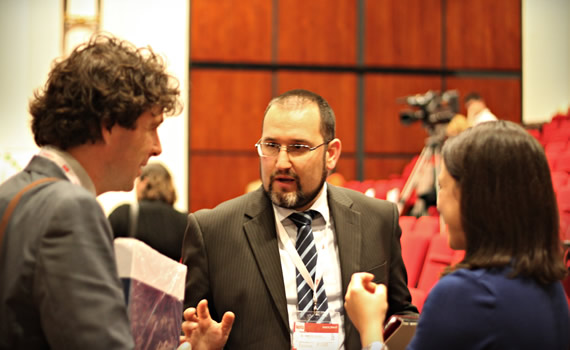 European CSR Lessons 2012 - Cristian talking to Tincuta Apateanu (Edusfera) and John Aston (Astoneco)